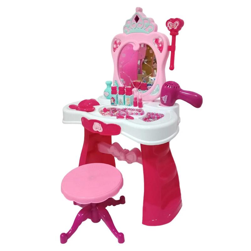Masuta toaleta pentru fetite Dresser, sertar, scaunel si accesorii incluse 2021 shopu.ro