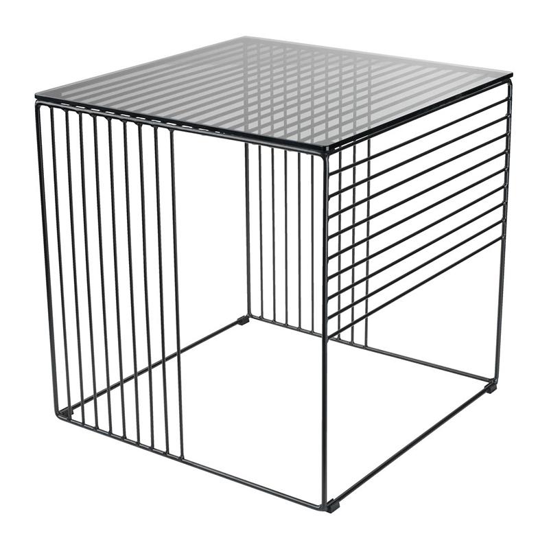 Masuta de colt, 40 x 40 x 41 cm, metal/sticla, Negru 2021 shopu.ro