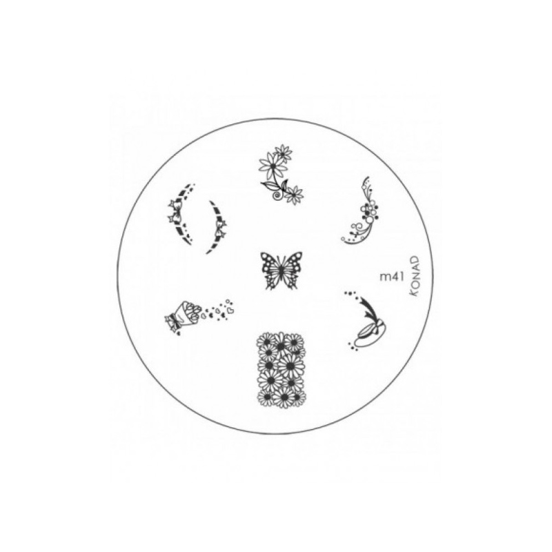 Matrita metalica pentru decorare unghii Konad M41, model mic