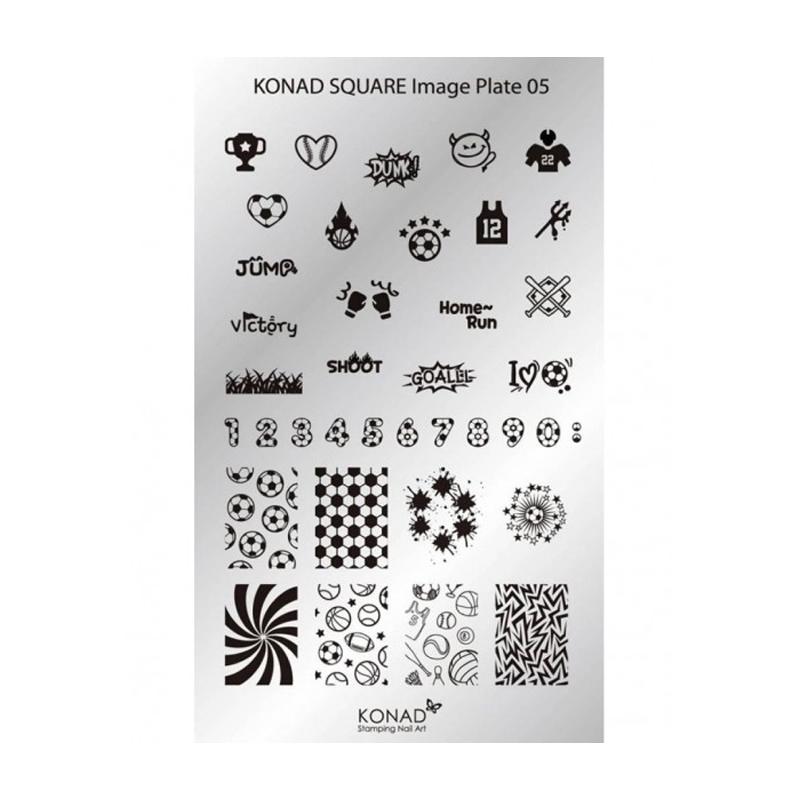 Matrita pentru unghii Konad Square Image Plate 05, Argintiu 2021 shopu.ro