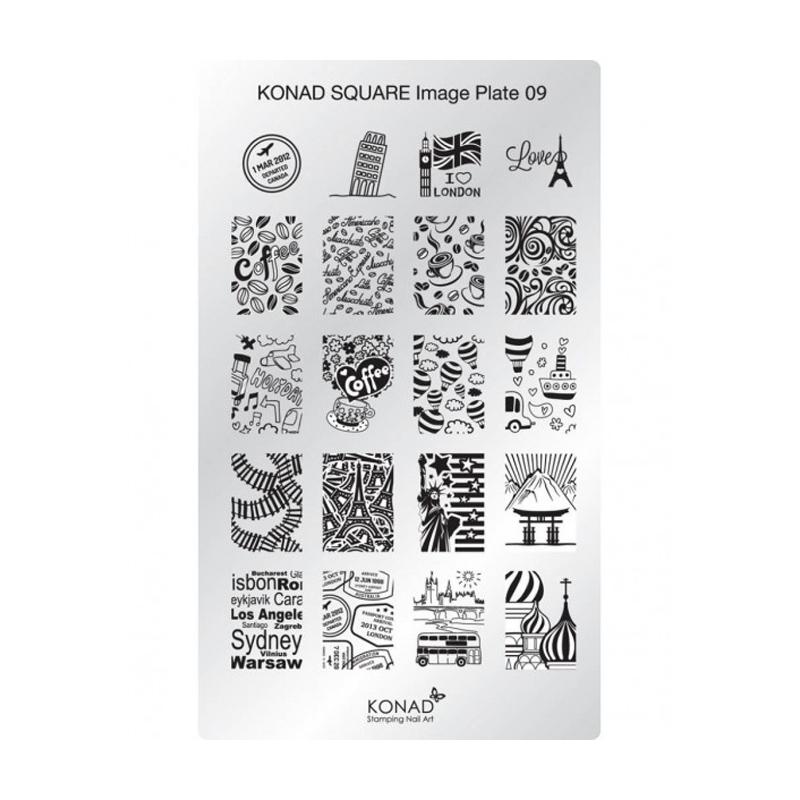 Matrita pentru unghii Konad Square Image Plate 09, Argintiu 2021 shopu.ro