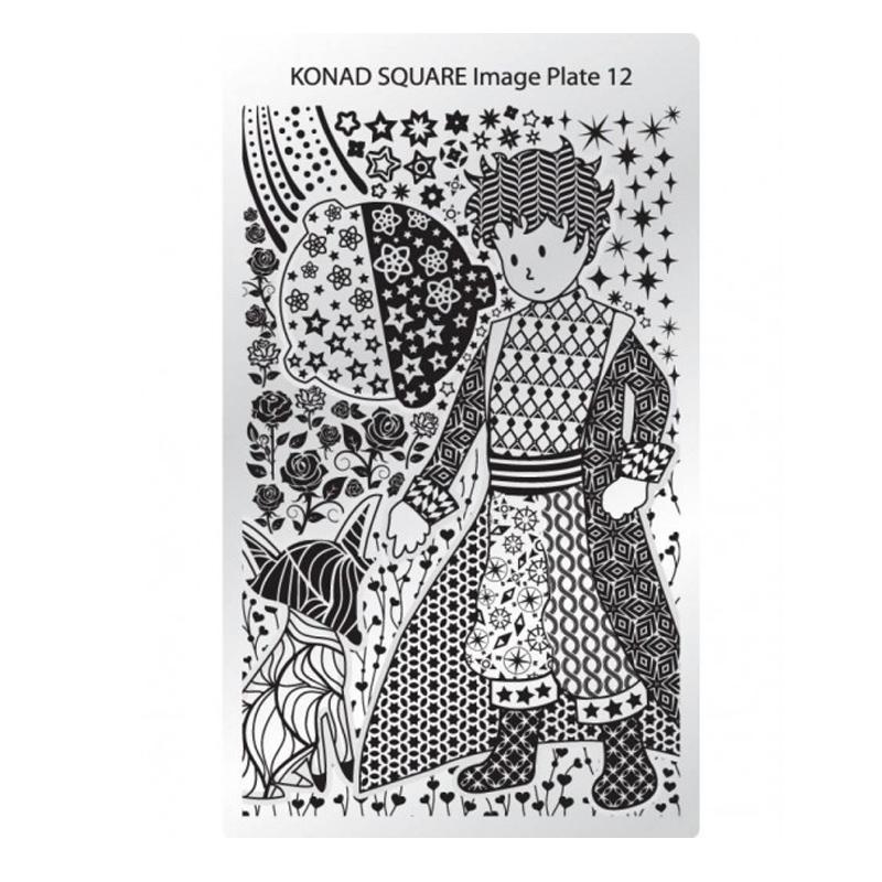 Matrita pentru unghii Konad Square Image Plate 12, Argintiu 2021 shopu.ro