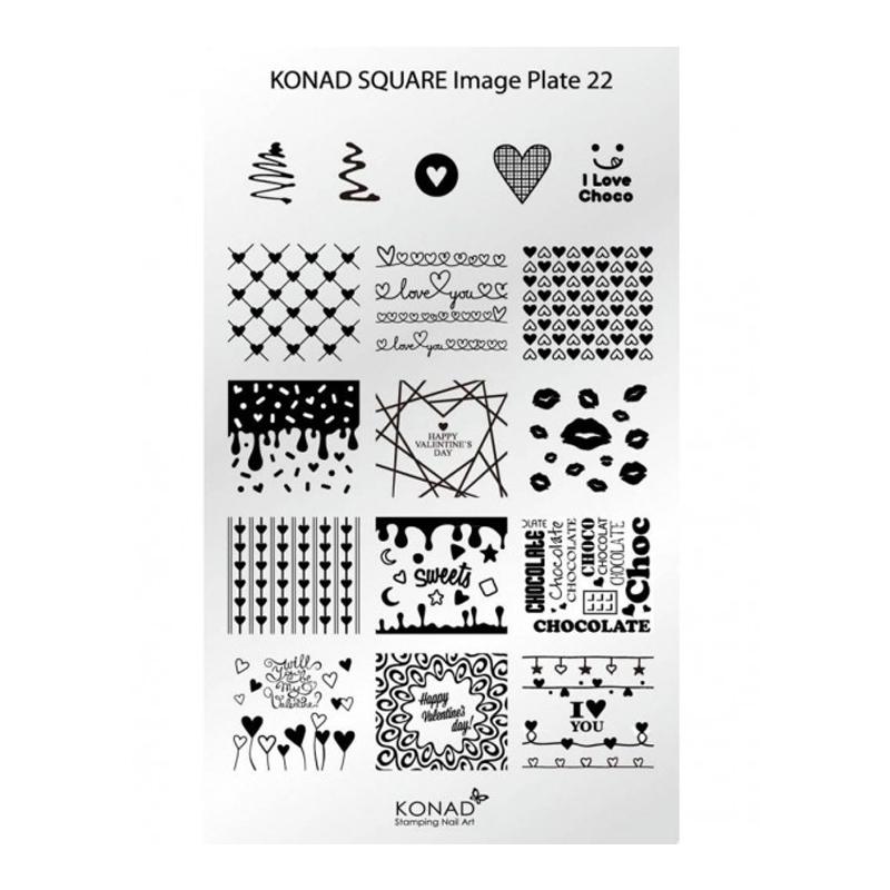 Matrita pentru unghii Konad Square Image Plate 22, Argintiu 2021 shopu.ro