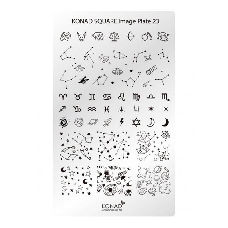 Matrita pentru unghii Konad Square Image Plate 23, Argintiu 2021 shopu.ro