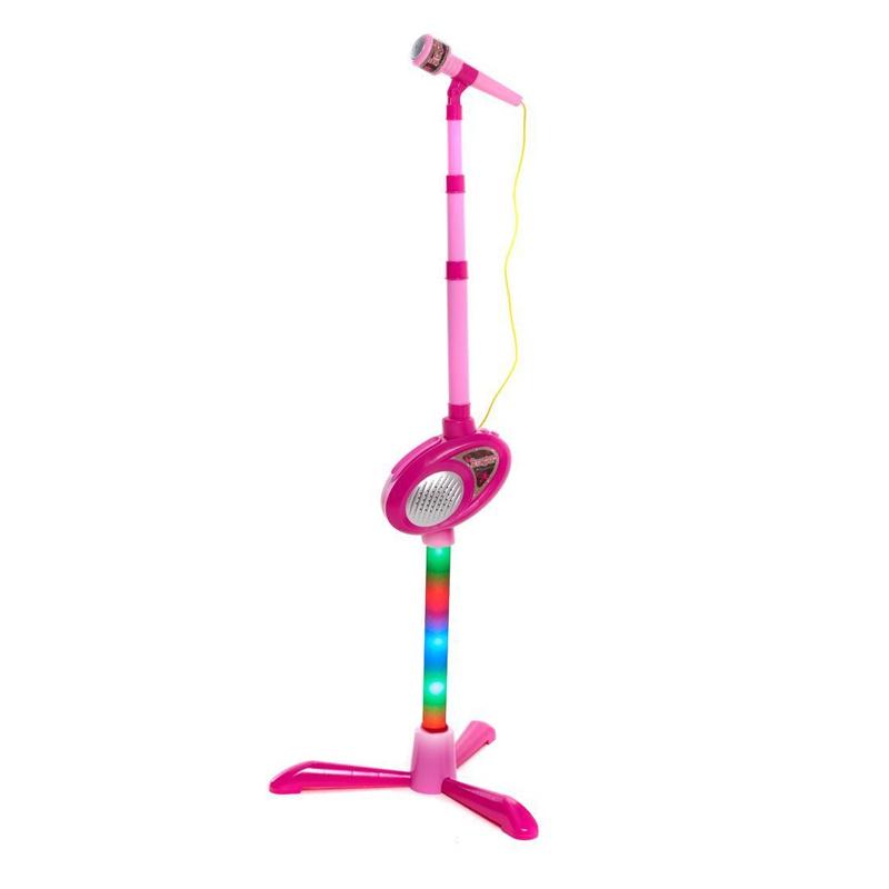 Microfon cu baza pentru fetite, volum ajustabil, melodii diverse, 3 ani+ 2021 shopu.ro