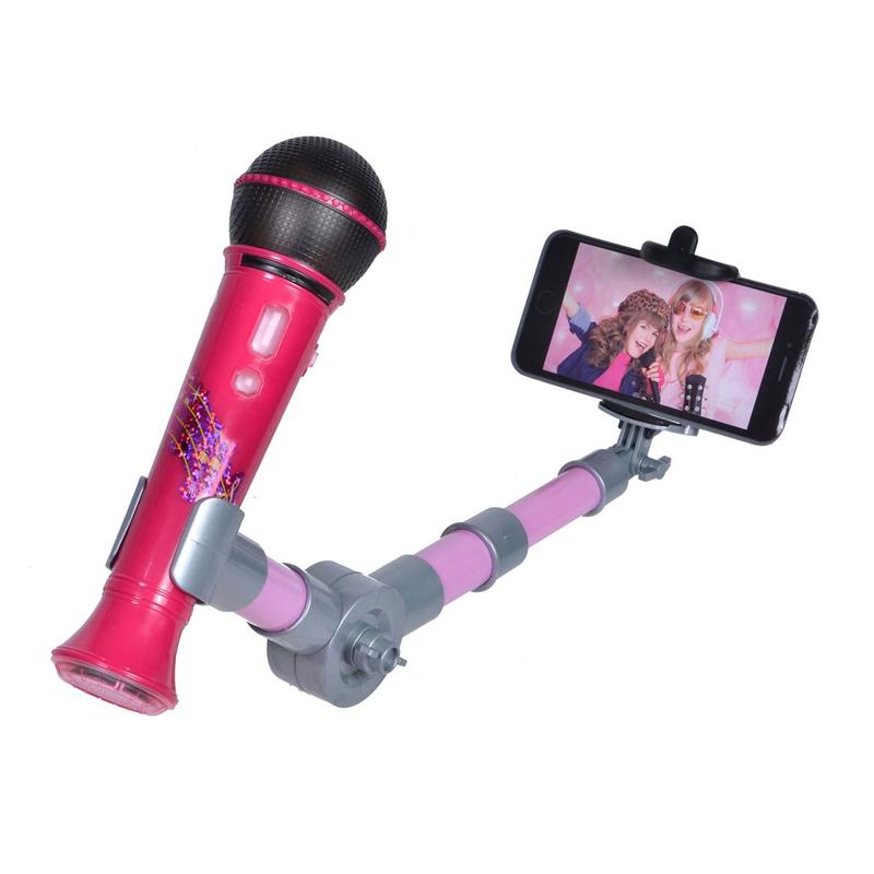 Microfon cu suport Selfie Stick, 30 cm, 2 x AAA, Roz 2021 shopu.ro