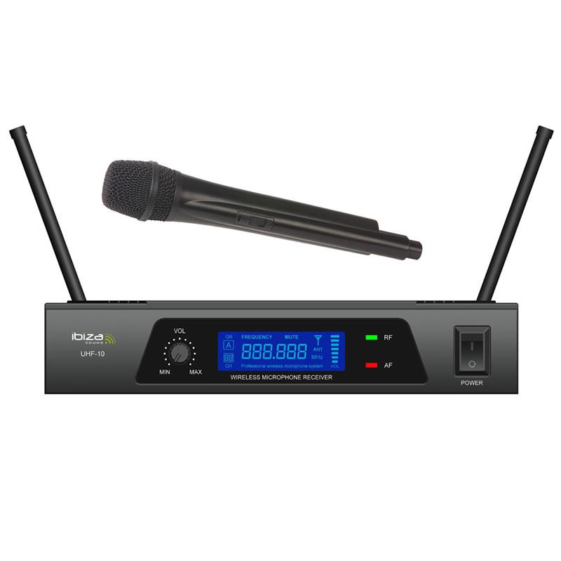 Microfon wireless Ibiza UHF10B, frecventa 864.90MHZ, ecran LCD 2021 shopu.ro