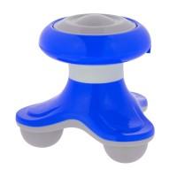 Mini aparat de masaj, 10 x 10 cm, 3 capete, Albastru
