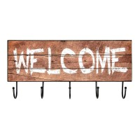 Mini cuier de perete, 45 x 15 cm, mesaj Welcome