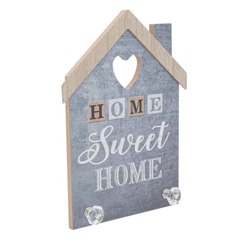 Mini cuier pentru perete Home Sweet Home, 20 x 27 cm, Gri 2021 shopu.ro