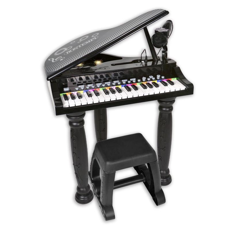 Mini pian pentru copii Bontempo, 8 sunete, 4 ritmuri, microfon si scaun incluse, 3 ani+