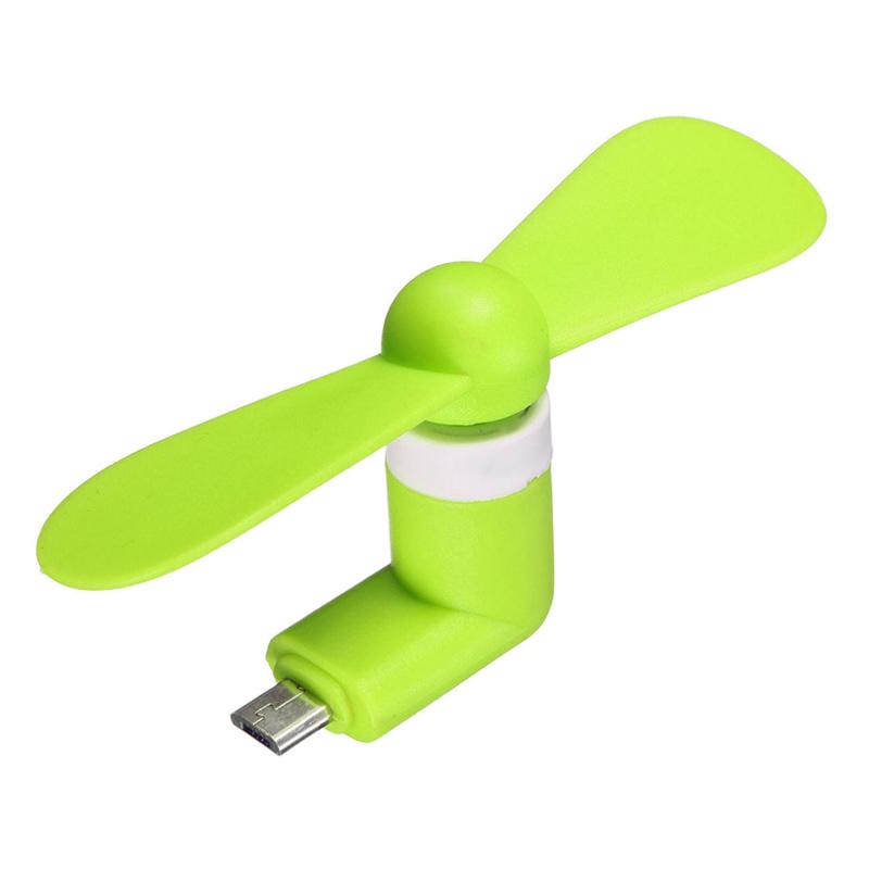 Mini ventilator pentru telefon, conector microUSB, 1 W, Verde