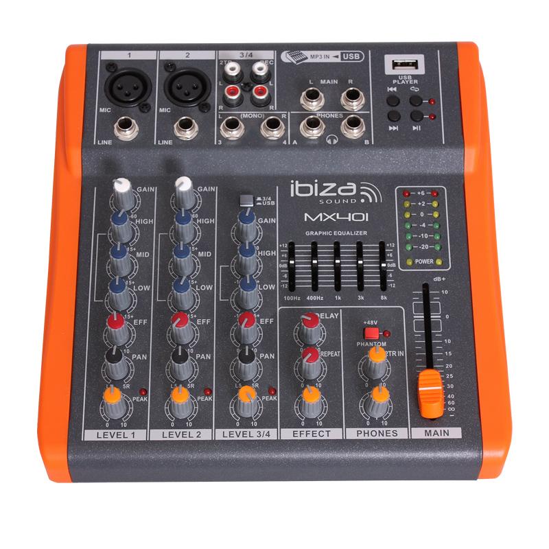 Mixer DJ Ibiza, 4 canale cu egalizator, efecte, USB 2021 shopu.ro