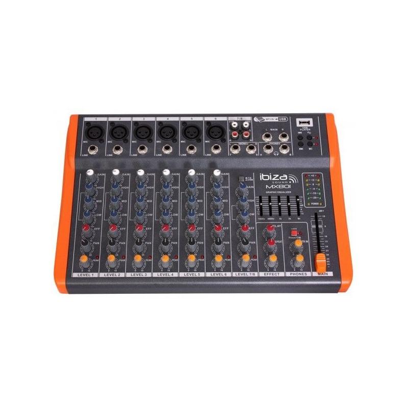 Mixer DJ Ibiza, 8 canale cu egalizator, efecte si USB 2021 shopu.ro