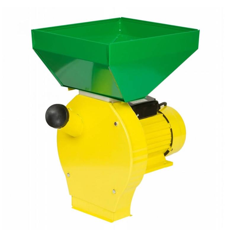 Moara electrica pentru uruiala Campion, 3.8 kW, 3000 rpm, 300 kg/h, cuva mare, motor cupru, 4 site incluse, Verde/Galben 2021 shopu.ro
