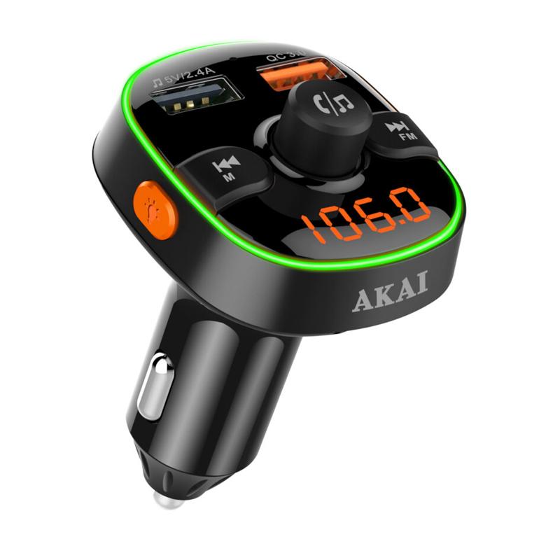 Modulator FM Akai FMT-52BT, Bluetooth, USB, functie incarcator telefon, microfon incorporat, afisaj LED 2021 shopu.ro