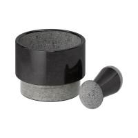 Mojar si pistil marmura masiva, diametru 14 cm, gri/negru