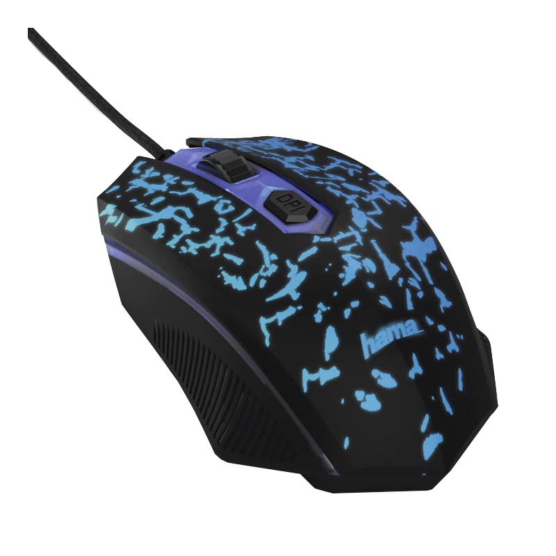 Mouse gaming Bl!ng2 Hama, 3200 dpi, USB, Negru/Albastru 2021 shopu.ro