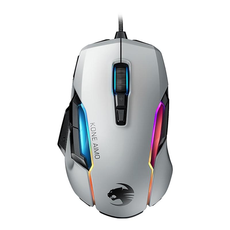 Mouse gaming Kone Aimo Remastered Roccat, 16000 dpi, 12 butoane, USB, iluminare RGB, Alb 2021 shopu.ro