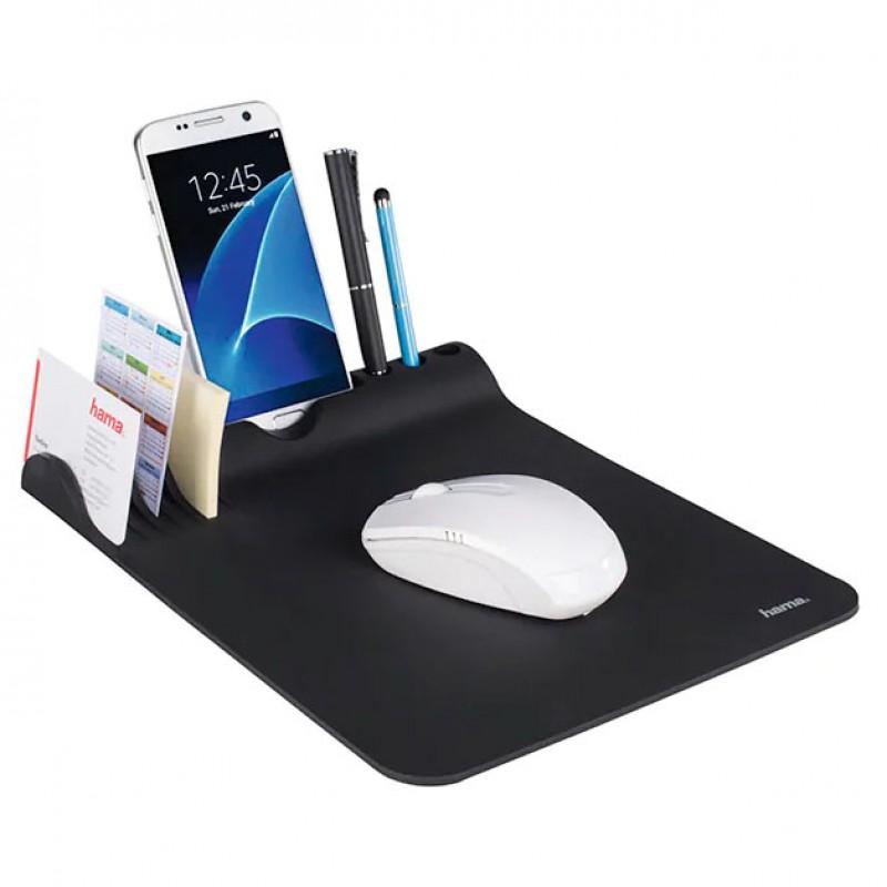 Mousepad Hama Organizer, suprafata cauciucata, suport smartphone, Negru 2021 shopu.ro