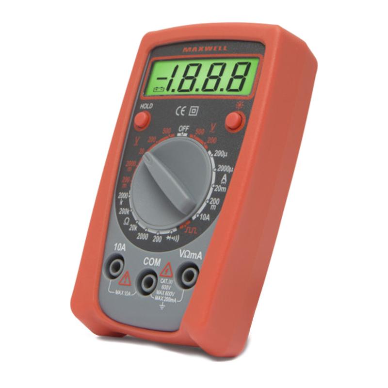 Multimetru digital compact Maxwell, 1 x 9 V, test dioda, mentinerea valorii 2021 shopu.ro