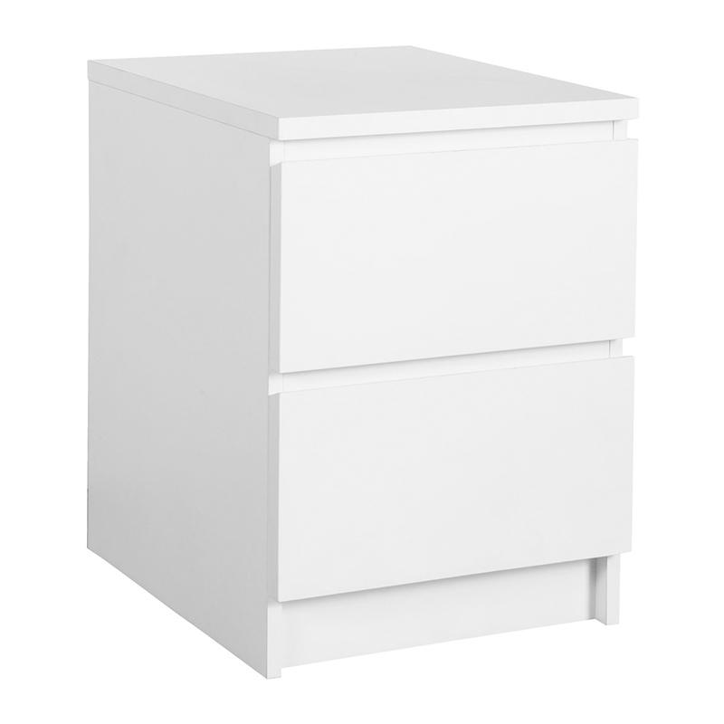 Noptiera cu 2 sertare, 41 x 56 x 48 cm, HDF/melamina, Alb shopu.ro