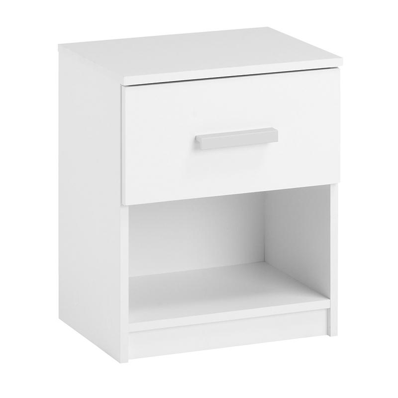 Noptiera cu sertar, 41 x 48 x 32 cm, HDF/melamina, Alb shopu.ro