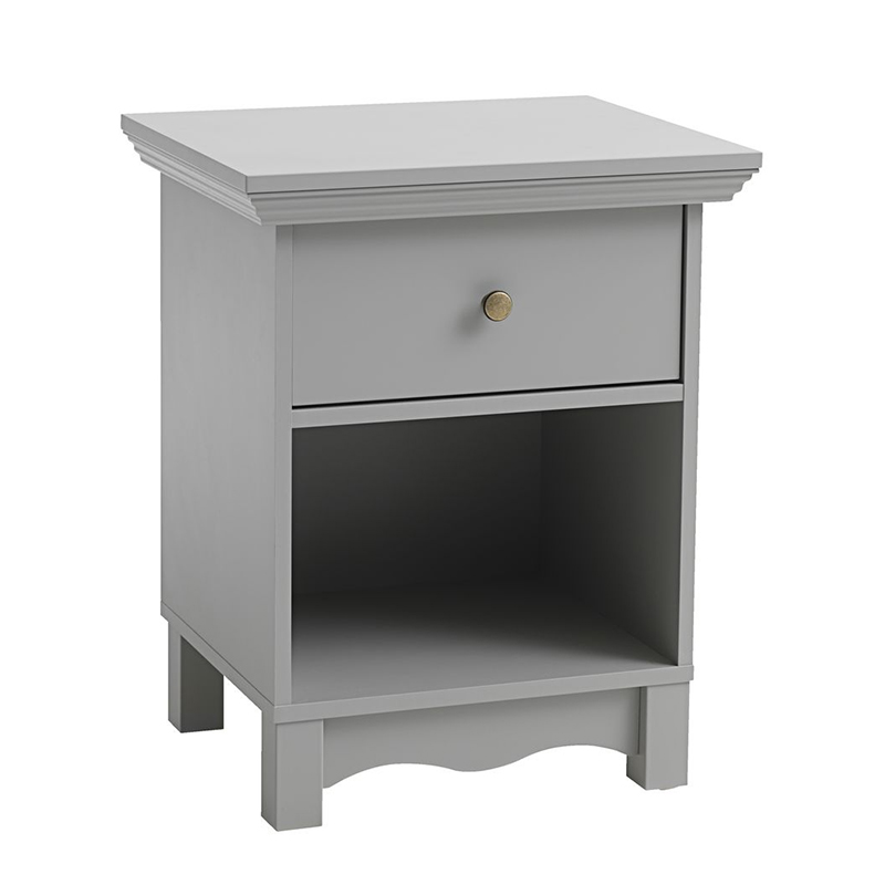 Noptiera cu sertar, 48 x 60 x 41 cm, folie/metal, Gri shopu.ro
