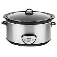 Oala electrica Slow cooker ECG, 320 W, 6.5 l, timer digital, LED, Argintiu
