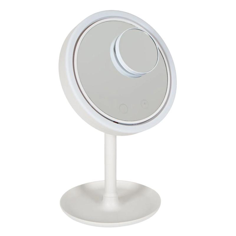 Oglinda cosmetica 3 in 1 Vanity, 20 cm, 4 x AA, USB, taste touch, ventilator inclus