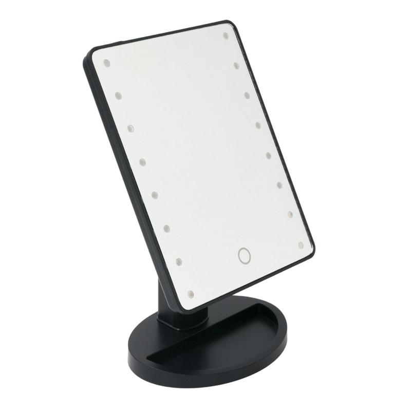 Oglinda cu organizator, 16 x LED, 17 x 27 cm, Negru 2021 shopu.ro