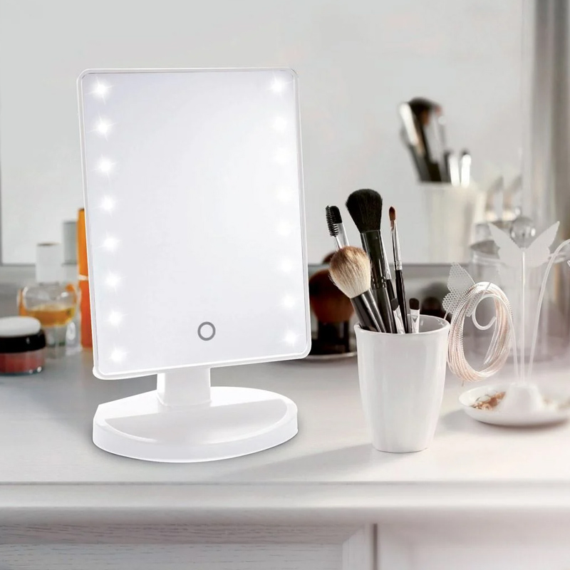 Oglinda cu organizator, 16 x LED, 17 x 27 cm, Alb