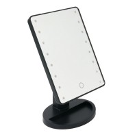Oglinda cu organizator, 16 x LED, 17 x 27 cm, Negru