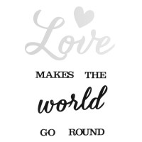 Oglinda si sticker pentru perete, 40 x 30 cm, mesaj Love Makes The Worlds Go Round