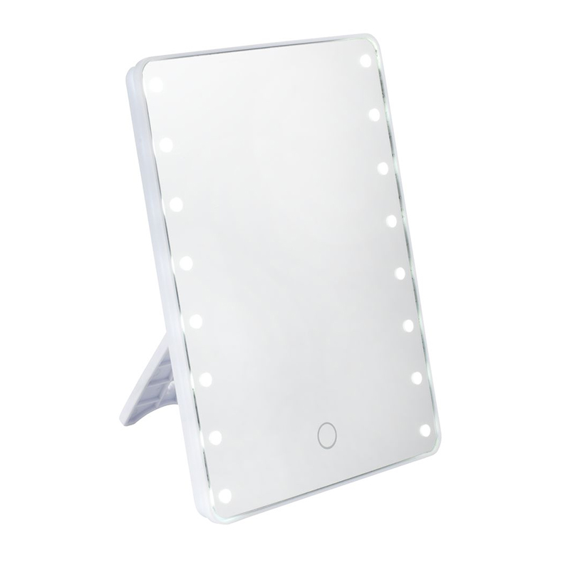 Oglinda cu LED, 16 x 5 x 22 cm, sticla/polipropilena, Alb shopu.ro
