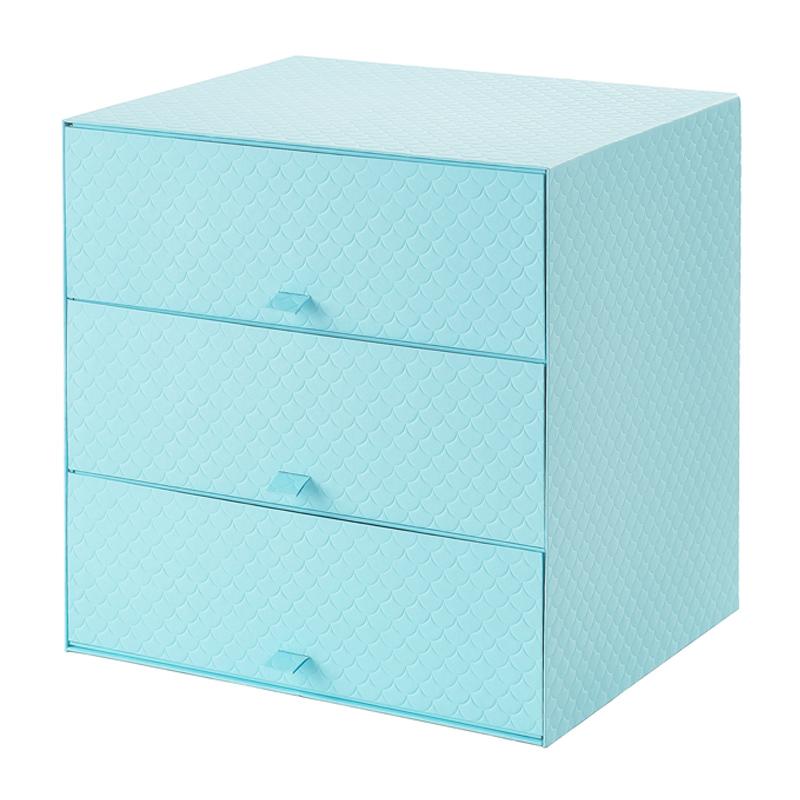 Organizator 3 sertare, 31 x 26 x 31, Albastru 2021 shopu.ro