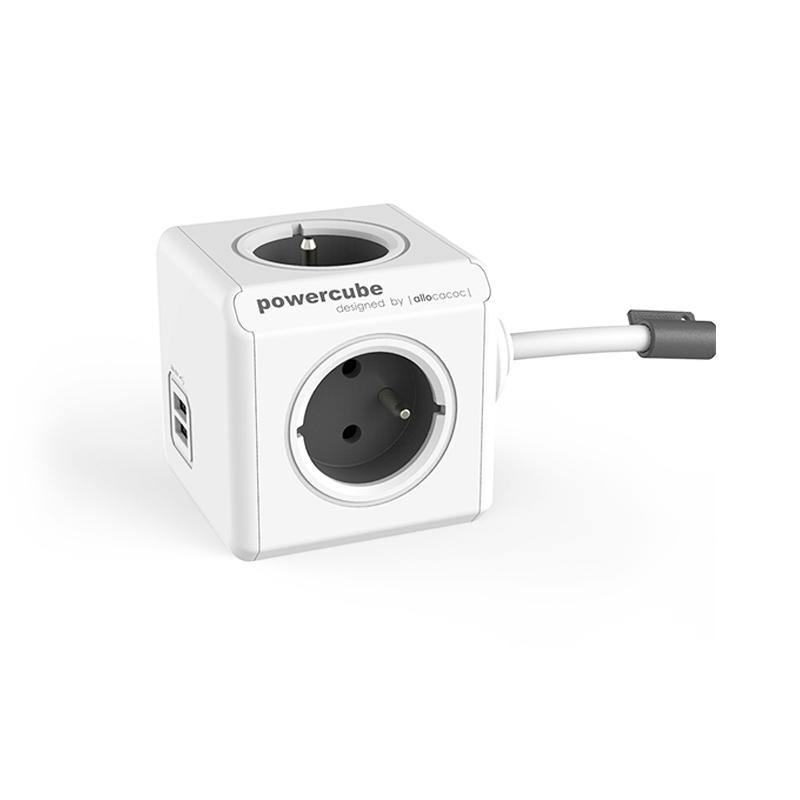 Prelungitor PowerCube Allocacoc, 4 prize, 2 x USB, 3 m