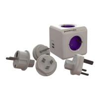 Fisa multipriza PowerCube Allocacoc, 4 prize, 2 x USB, 4 adaptoare