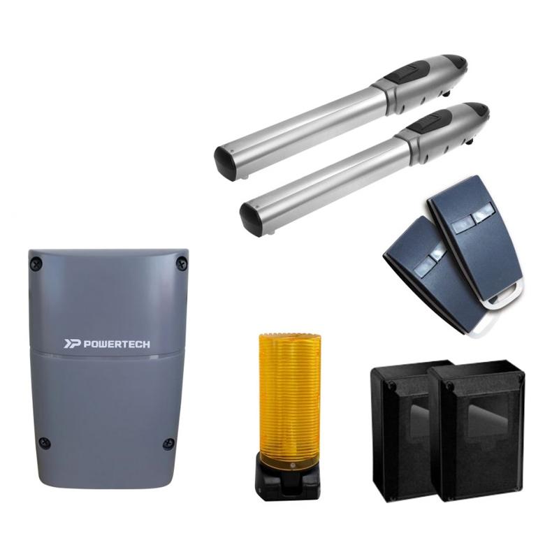 Kit pentru porti batante Powertech PW-320S, 2 telecomenzi 2021 shopu.ro