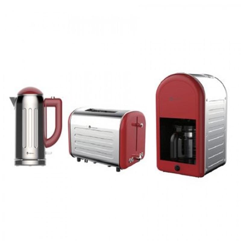 Pachet Filtru de cafea Retro 70, 1000 W, 1.25 l + Prajitor de paine Retro 80, 1000 W, 2 felii, 7 nivele + Cana electrica Retro 60, 2200 W, 1.7 l, baza rotativa, Rosu/Inox 2021 shopu.ro