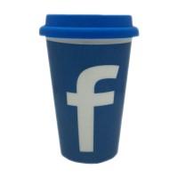 Pahar ceramic pentru cafea, 280 ml, capac silicon, mesaj Facebook
