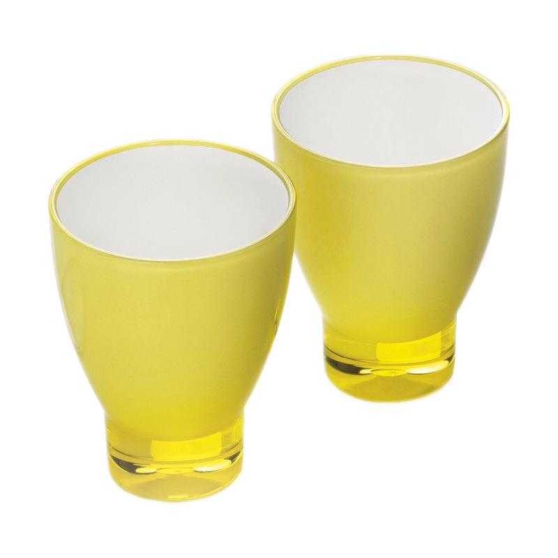 Set 2 pahare pentru apa Laica, material acrilic, Galben