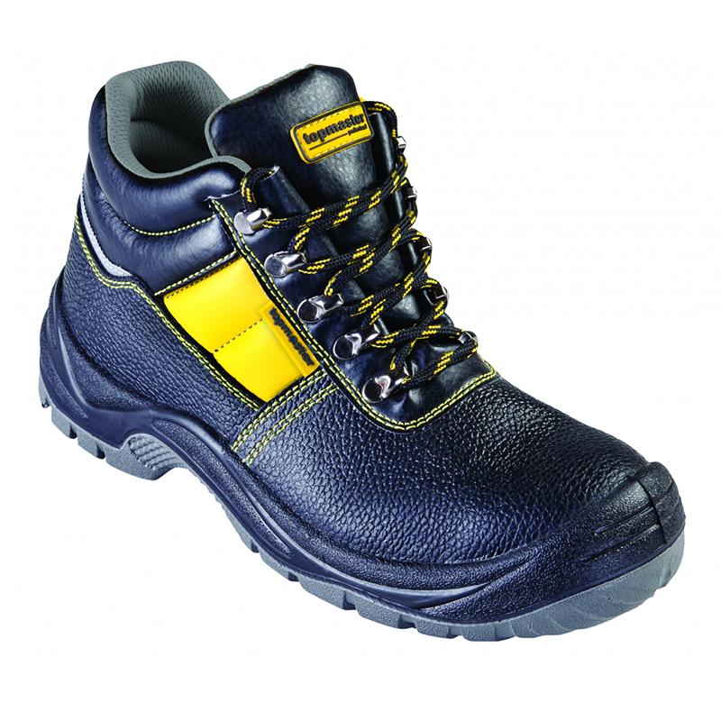 Pantofi de protectie S3 Top Master, marimea 43, piele naturala, bombeu metalic, parti reflectorizante, Negru/Galben 2021 shopu.ro