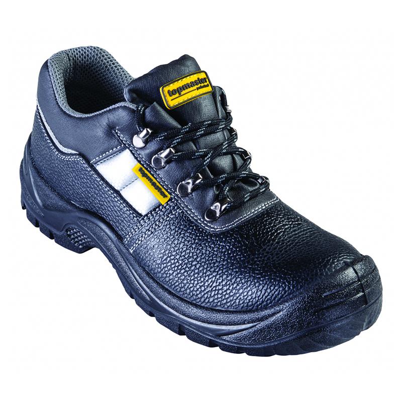 Pantofi de protectie S3 Top Master, marimea 43, piele naturala, bombeu metalic, parti reflectorizante, Negru