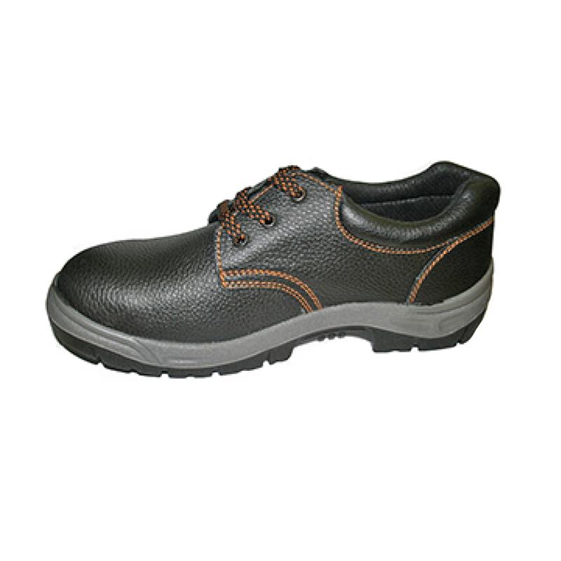 Pantofi de protectie Top Strong, marime 46, piele de vitel, talpa elastica, bombeu metalic, protectie strivire, Negru 2021 shopu.ro