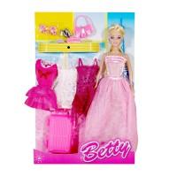 Papusa Betty cu 3 rochii, accesorii incluse, 3 ani+