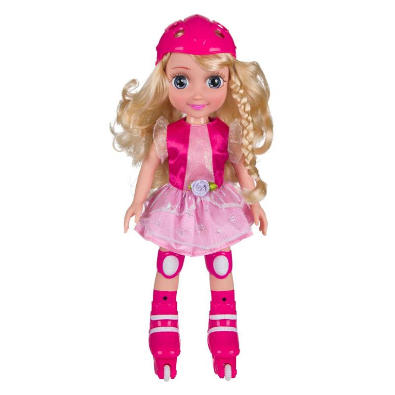 Papusa Doll Skater, rochie roz, patine, 37 cm