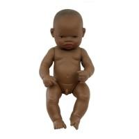 Papusa bebelus african fetita Miniland, 32 cm