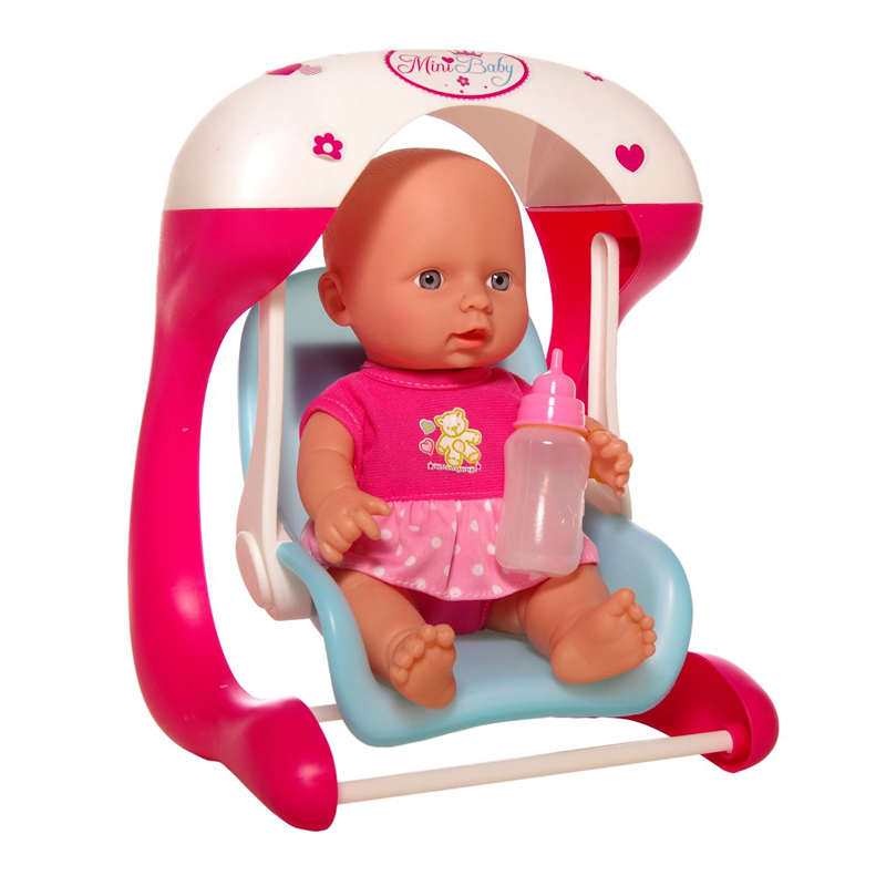 Papusa bebelus cu leagan Mini Baby, 22.5 cm, 3 ani+ 2021 shopu.ro