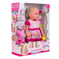 Papusa interactiva Sweet Doll, inaltime 43 cm, 3 ani+, accesorii incluse